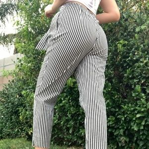 striped paper bag pants trousers